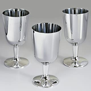 BalsaCircle 44 pcs 7 oz Silver Plastic Wine Glasses - Disposable Wedding Party Catering Tableware