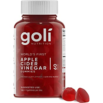 World's First Apple Cider Vinegar Gummy Vitamins by Goli Nutrition - Immunity & Detox - (1 Pack, 60 Count, with The Mother, Gluten-Free, Vegan, Vitamin B9, B12, Beetroot, Pomegranate)