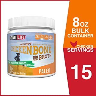 LonoLife Reduced Sodium Chicken Bone Broth Powder with 10g Protein, Paleo and Keto Friendly, 8-Ounce Bulk Container