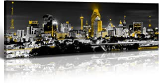 San Antonio Skyline Wall Art USA Canvas Prints Decor Black and White Yellow Panoramic..