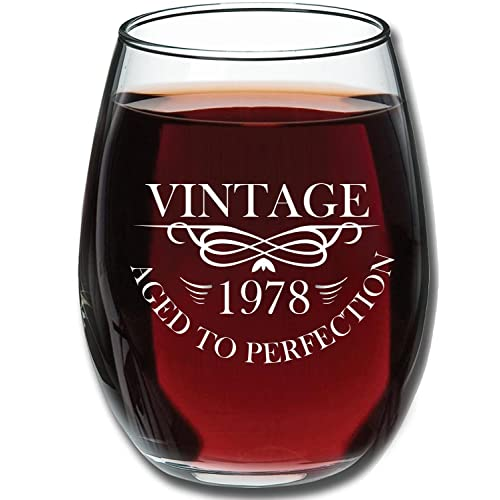 1978 Birthday Gifts For Women And Men Wine Glass