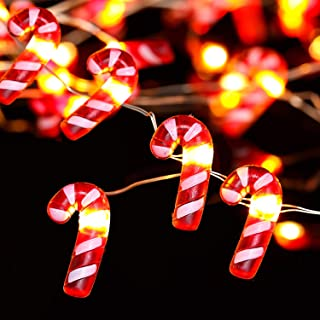 10ft 30 Candy Cane Led String Lights Battery Powered with 8 Flicker Modes, Remote and Timer for Christmas, Saint Nicholas Day, Birthday Parties, Wedding, DIY Home Mantel Decoration (Candy Cane)