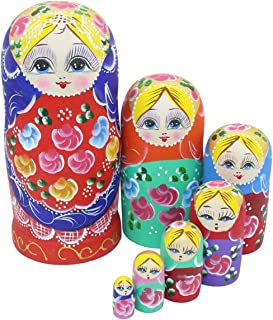 Set of 7 Pieces Beautiful Lovely Wood Red Flower Girl With Blue Scarf Traditonal Russian Nesting Dolls Matryoshka Wishing Dolls Toy Gift Home Room Decoration