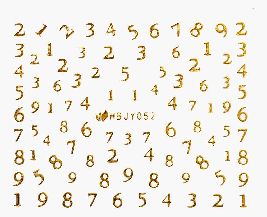 不完全なソフトウェアアフリカアルファベットやメッセージ柄のネイルシール (数字GOLD)