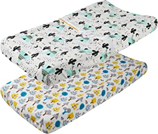 Waterproof Changing Pad Cover Set 2 Pack 100% Jersey Cotton 190 GSM Thickest Ultra Soft Stretchy Baby Girl Boy with TPU Wa...