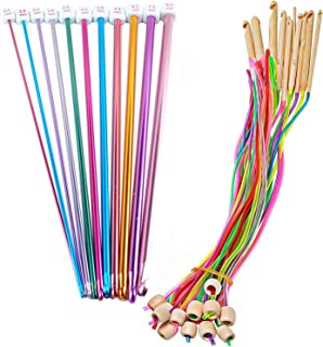Poweka Lot de 12 crochets tunisiens en bambou avec aiguilles circulaires de 3,5 à 12 mm et 11 aiguilles à tricoter en alum...