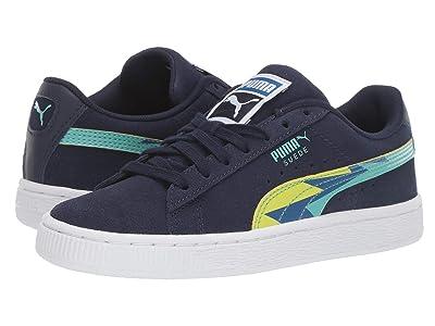 Puma Kids Suede Classic Lightning (Big Kid) (Peacoat Blue/Turquoise) Boys Shoes
