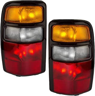 Driver and Passenger Taillights Tail Lamps with Amber Signal Lens & Black Housing Replacement for Chevrolet GMC SUV 15832091 15832092 AutoAndArt