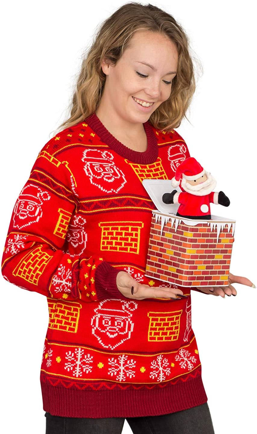 Jack in The Box Santa Easy-to-use Claus Ugly Christmas Sweater 3D Red Adult Ranking TOP11