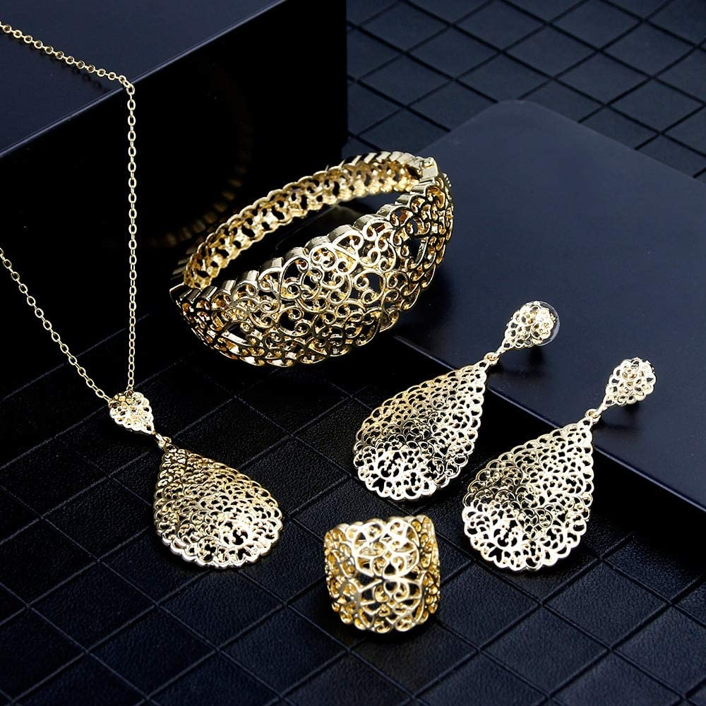 chenfeng Jewelry Set Gold Color Metal Arab Jewelry Set Hollow Bangle Earring Necklace Ring Wedding Dubai Bridal Gifts (Metal Color : LL156set, Ring Size : 9)