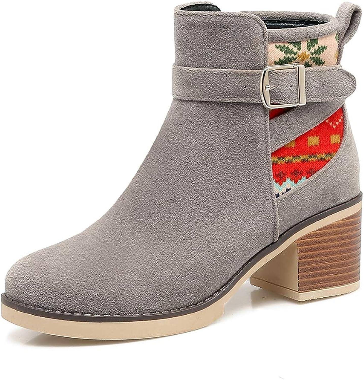 T -JULY Woherrar Western stövlar skor Square klackar svart Gary Ankle stövlar skor Plus Storlek 34 -43