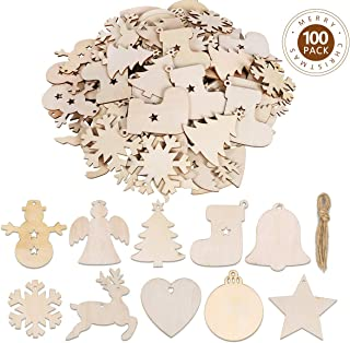 Max Fun 100PCS DIY Wooden Christmas Ornaments Unfinished Predrilled Wood Circles for Crafts Centerpieces Holiday Hanging Decorations in 10 Shapes