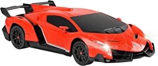 QUN FENG Electric RC Car-Lamborghini Veneno Radio Remote Control Vehicle Sport Racing Hobby Grade Licensed Model Car 1:24 Scale for Kids Adults (Orange)