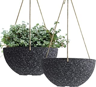 Hanging Planters Wall Resin Planter - UV Resin Self-Watering Self-Aerating Planter with Drainage, 9.8 Inch Planter, Indoor Outdoor Flower Plant Pot, Modern Speckled-Black Pot Pack 2