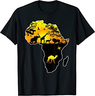 d665016330c64e African Savannah safari wildlife Africa map t-shirt