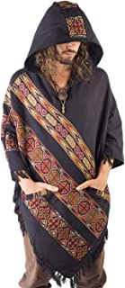 Handmade Hooded Mens Poncho BLACK Cashmere Wool with Large Hood and Pockets Jungle Primitive Gypsy Festival Mexican Tribal Embroidered Celtic Earthy Winter Tibetan AJJAYA Wild …