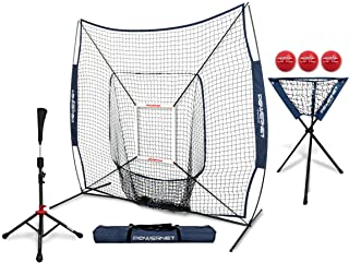 PowerNet 7×7 DLX Practice Net + Deluxe Tee + Ball Caddy + 3 Pack Weighted Ball +..