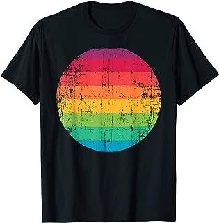 Vintage Rainbow Stripes in Retro Circle LGBTQ Pride Gift T-Shirt