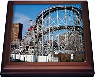 3dRose trv_1192_1 Coney Island Roller Coaster Trivet with Ceramic Tile, 8 by 8