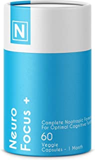 Neuro Focus + | Advanced Nootropic Formula by Nuzena - Enhance Memory, Energy, Brain Speed, and Focus (60 Capsules)