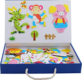 QZM Magnetic Puzzles Art Easel Zodioc Animals Wooden Puzzles Game to Toddlers Drawing Board Jigsaw Puzzle Set- Learning & Educational Game Toy for Kids Age 3+