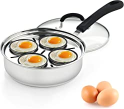 """Cook N Home 4 Cup Stainless Steel Egg Poacher Pan 8"""""""