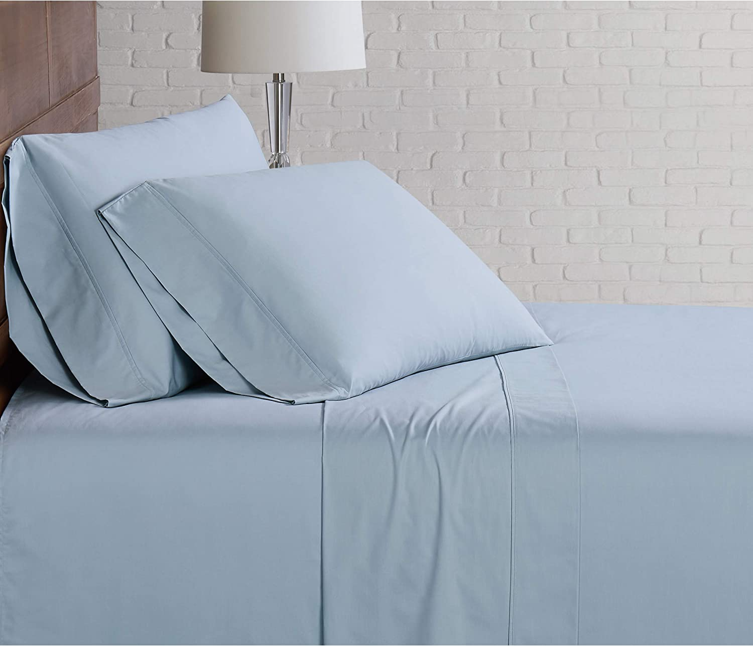 Brooklyn Loom Solid Cotton Percale Blue Japan's largest assortment Light Low price Set King Sheet
