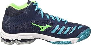 MIZUNO V1GA180536 Wave Lightning Z4 Men's Volleyball Shoes, Dress Blue/Green Gecko/Peacock Blue