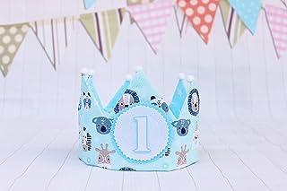 Compleanno corona neonati e bambini con animali blu