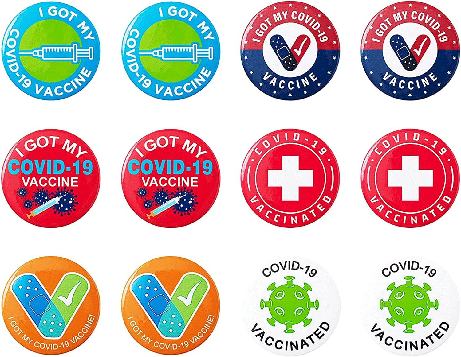 Vaccinated Max 63% OFF Button Pins - Pack 12 of Pcs Special Campaign Be I've