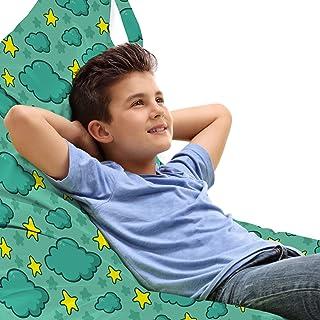 ABAKUHAUS des Nuages Jouet Sac de Rangement Chaise Lounge, Cartoon Enfants Night Sky, Stockage pour Animal en Peluche à Ha...