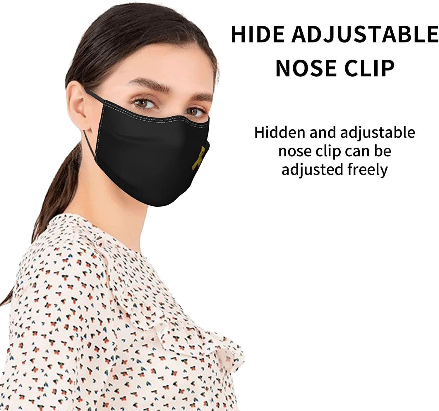 Childhood Cancer Awareness Ribbon Face Masks for Adults,Face Balaclava Comfortable Reusable with 2 Filters for Men Women Teens Black