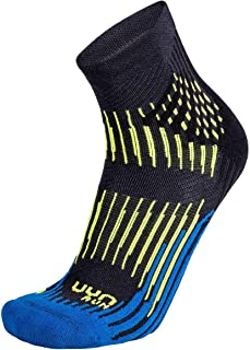 Shockwave - Calcetines de Running para Hombre, Hombre, S100162, Anthracite/Royal Blue/Yellow Fluo, 39/41