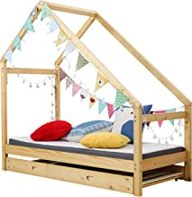 Bestmart House Bed Frame Premium Wood Floor Bed Children Toddler Bed, Comfort & Safe