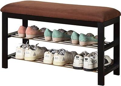Roundhill Furniture Dark Espresso Wood Shoe Bench with Chocolate Microfiber Seat, Brown