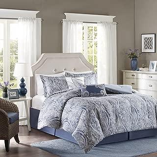 Harbor House Stella King Size Bed Comforter Set - Blue, Paisley – 5 Pieces Bedding Sets – Cotton Bedroom Comforters