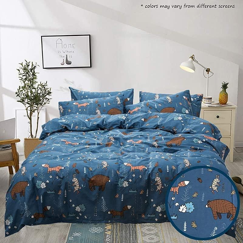 Jumeey Queen Cotton Duvet Cover Sets Navy Blue Duvet Cover Full Boys Teen Bear Fox Print Forest Bedding Sets For Kids 100 Cotton Raccoon Rabbit Bear Print 3 Piece NO Comforter