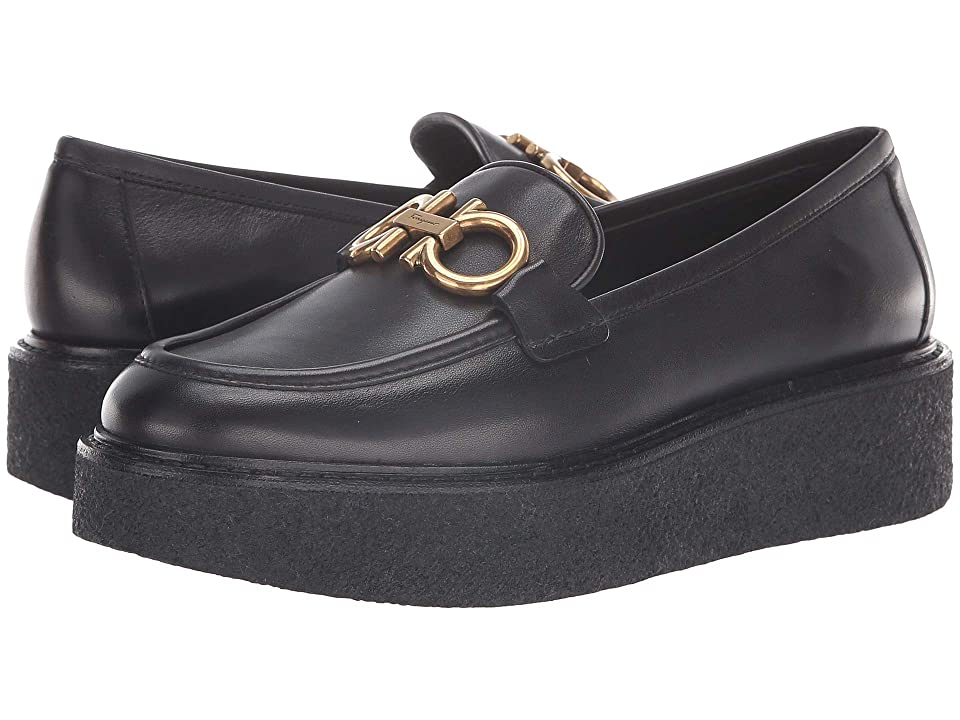 f4a58ce7decf Salvatore Ferragamo Brez Platform Loafer (Nero Vitello Saddle) Women s Slip  on Shoes