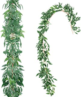 Artificial Willow Garland, 2pcs Faux Silk Willow Leaves Vines Hanging Willow Leaves Garland Greenery Artificial Vines for Wedding Backdrop Arch Wall Decor(Green)