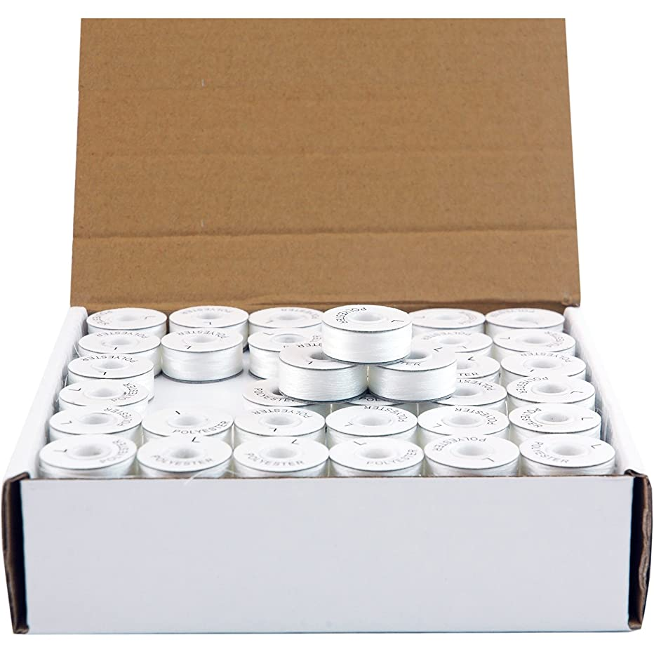 Threadart Prewound Embroidery Bobbins - 144 Count Per Box - White Cardboard Sided - L Style - 8 Options Available smupndruk11
