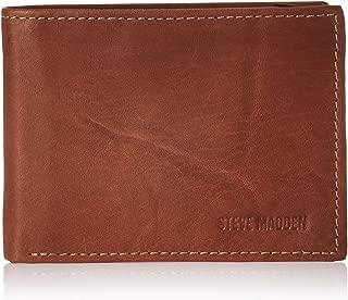 Steve Madden mens Leather Rfid Wallet Extra Capacity Attached Flip Pocket Wallet