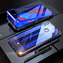 Honor 8X Case, UBERANT Metal Frame & Tempered Glass Back 2 in 1 Ultra-Thin Clear Luxury Scratch Resistant Shockproof Magnetic Adsorption Case for Huawei Honor 8X 6.5 Blue Black