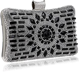 Runhuayou Women's Crystal Rhinestone Eve Bag/Ladies Party Bag Portable Nuptial Bag Fashion Clutch Bag Black/Blue/Gold/Silver Great for Casual or Many Other Occasions Such (Color : Black)