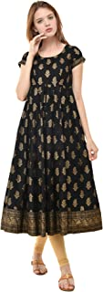 Poshak Women's Gold Print Round Neck, Side Zipper, Cap Sleeves, Ankle Length with 1 Pair of Golden Beautiful Latkan Anarkali
