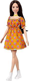 دمية باربي فاشنيستا بشعر داكن ترتدي دريس مكشوف الكتفين منقط- دمية ملائمة للأطفال من عمر 3 إلى 8 سنوات