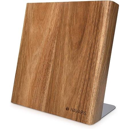 Navaris Bloc à Couteaux magnétique - Bloc aimanté en Bois d'acacia - Range Couteau de Cuisine Vide - Support Vertical avec Aimant