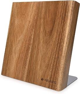 Navaris Messerhalter magnetisch Messerbrett aus Akazie - Magnet Messerblock Holz Magnethalter - Magnet-Messerblock Messer Halterung unbestückt braun