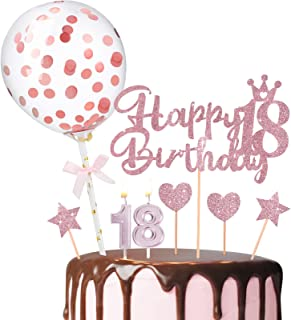 Happy 18th Birthday Rose Gold Cake Topper Confetti Balloon Cake Topper Cake Numeral Candles Glitter Star Cupcake Topper fo...