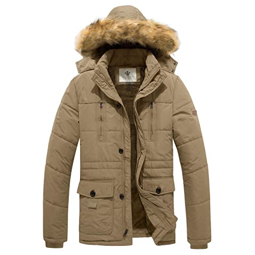 Wenven Mens Hooded Warm Coat Winter Parka Jacket