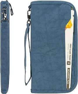 RFID Travel Passport Wallet & Documents Organizer Zipper Case with Removable Wristlet Strap